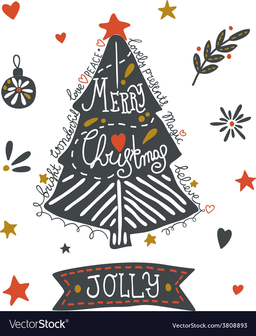 Christmas greeting card with sketchy elements vector | Price: 1 Credit (USD $1)