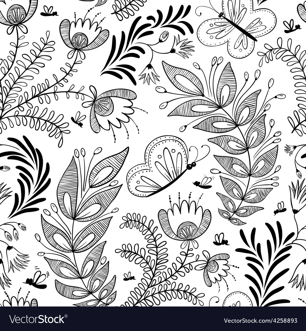 Doodle floral seamless vector | Price: 1 Credit (USD $1)