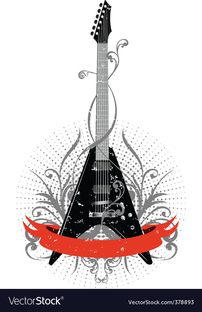Guitar with pattern vector | Price:  Credit (USD $)