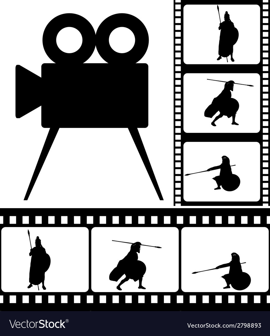 Movie camera and films vector | Price: 1 Credit (USD $1)