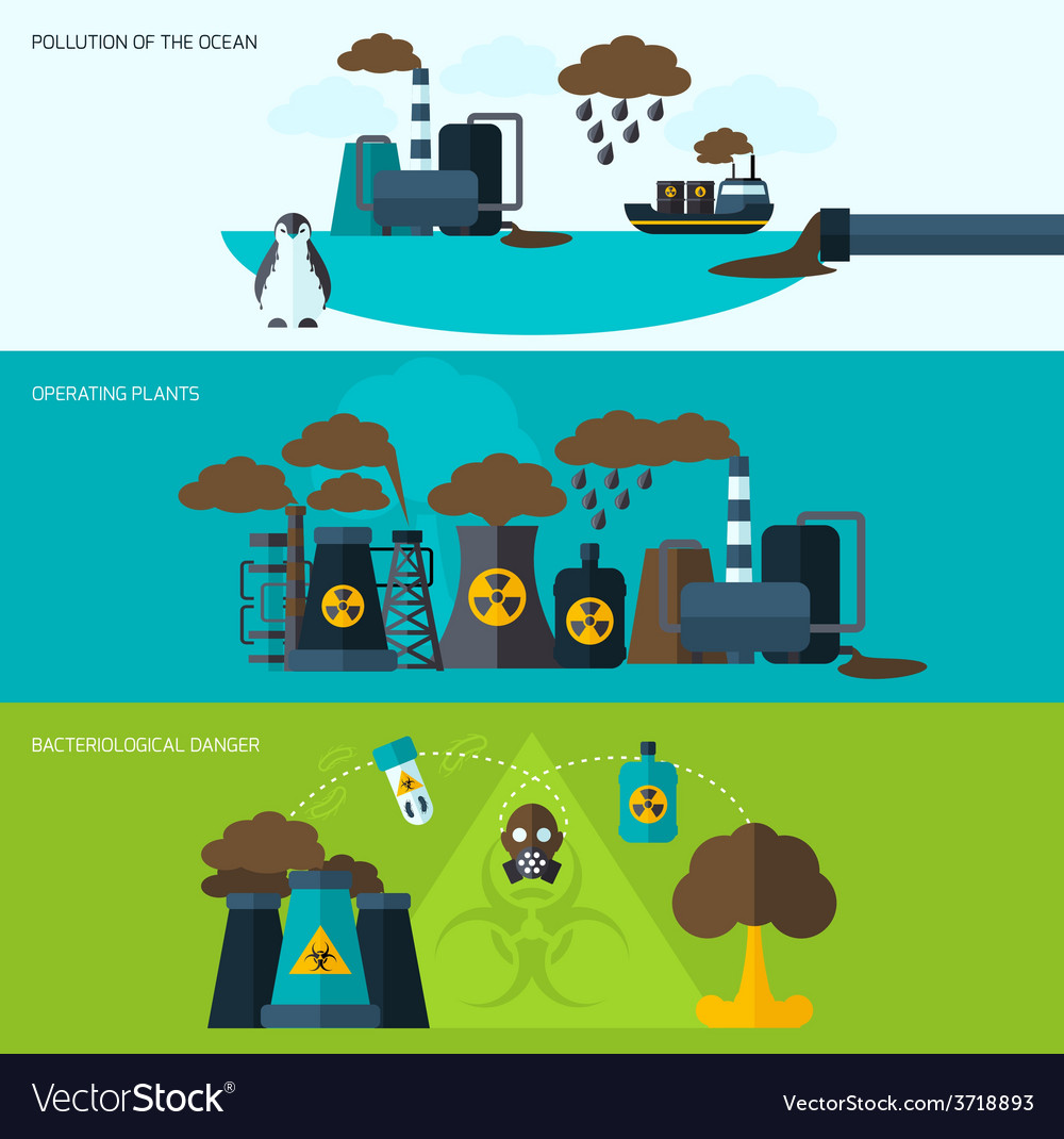 Pollution banner set vector | Price: 1 Credit (USD $1)