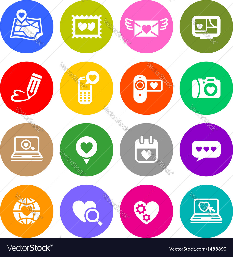 Set valentines day buttons love internet signs vector | Price: 1 Credit (USD $1)