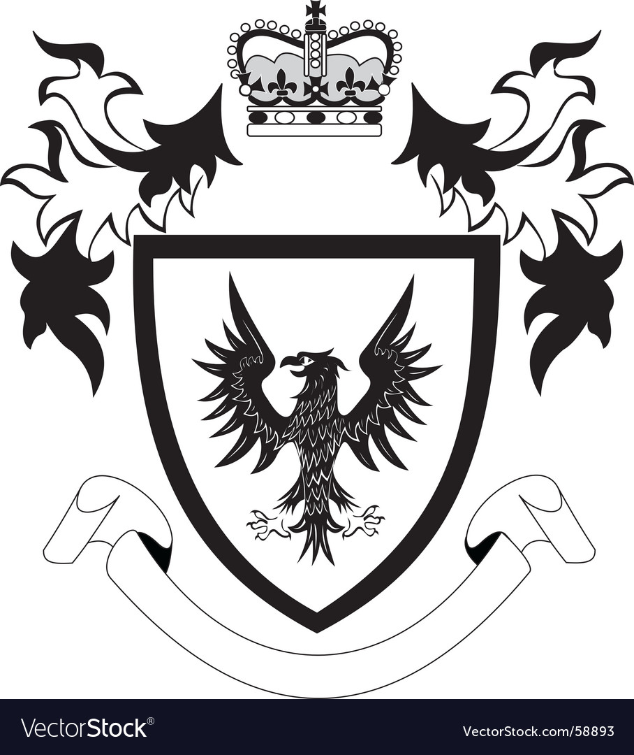Shield with black eagle vector
