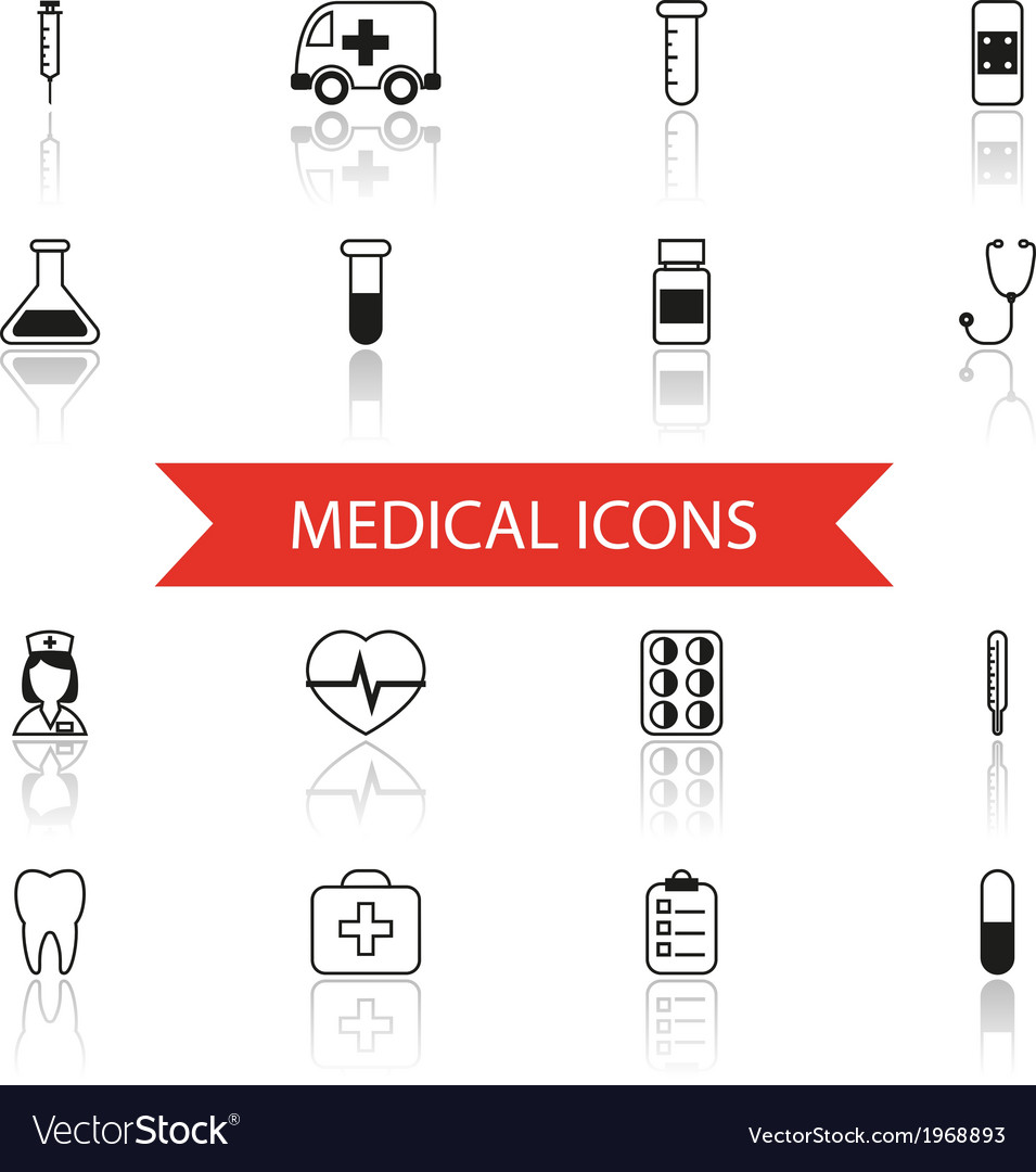 Simple medical icons and symbols set isolated with vector | Price: 1 Credit (USD $1)