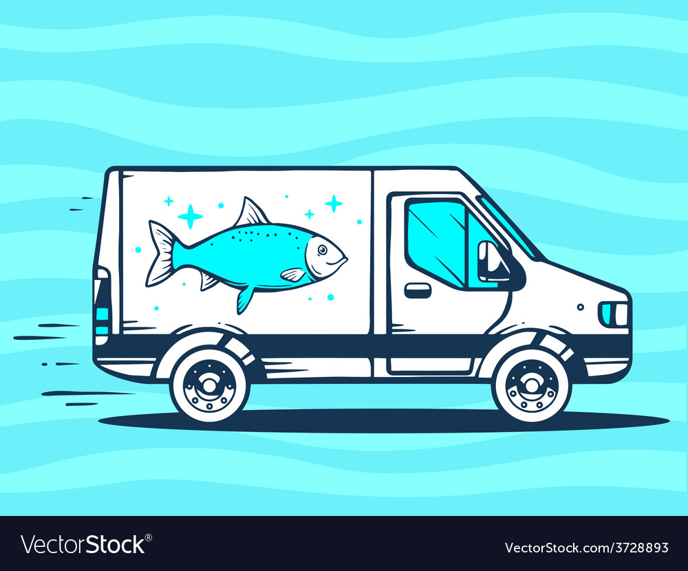 Van free and fast delivering fish to cust vector | Price: 1 Credit (USD $1)