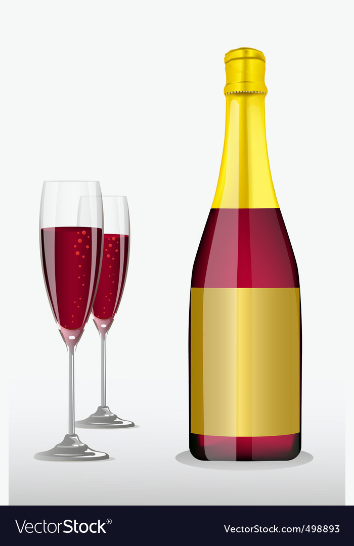 Wine glass with bottle vector | Price: 1 Credit (USD $1)