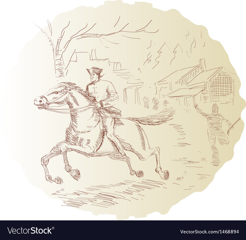 American revolution soldier riding horse vector | Price: 1 Credit (USD $1)