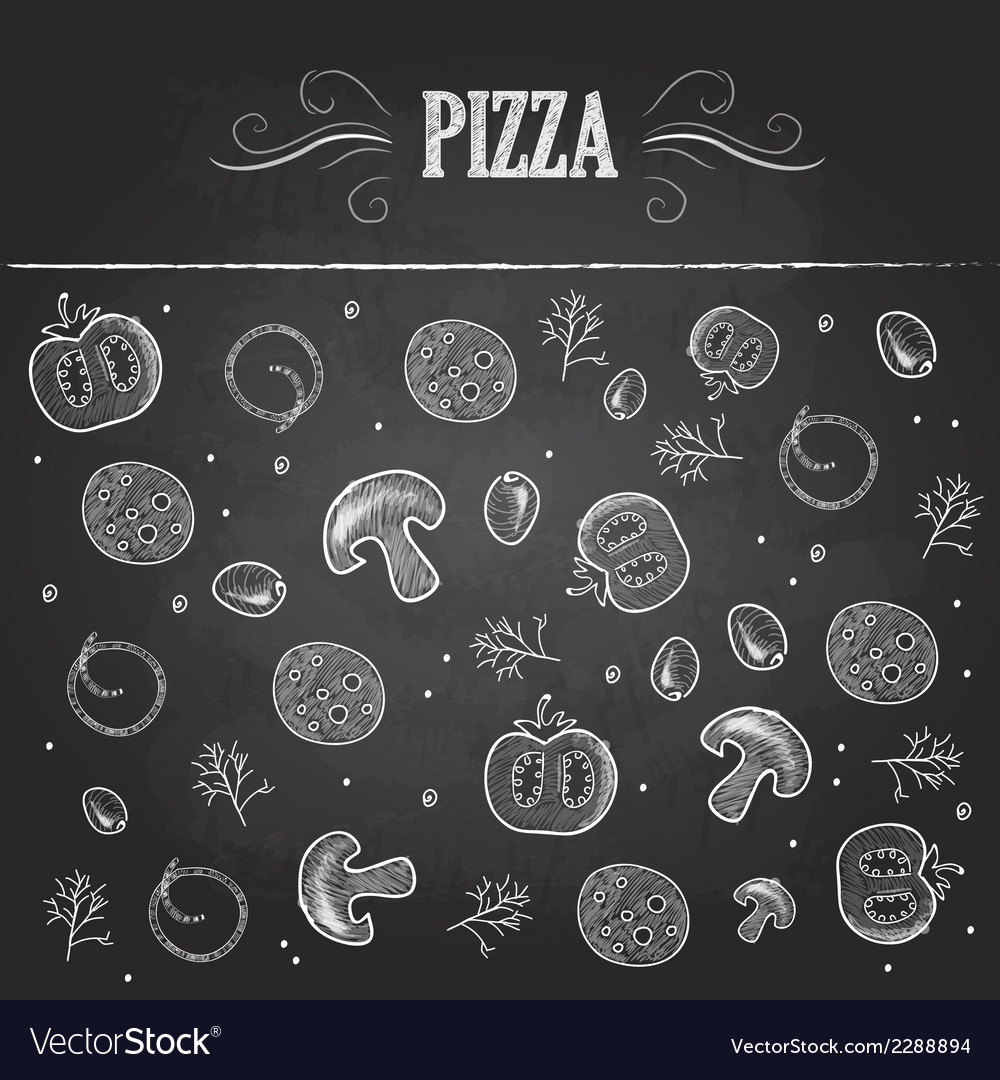 Chalk drawings pizza vector | Price: 1 Credit (USD $1)