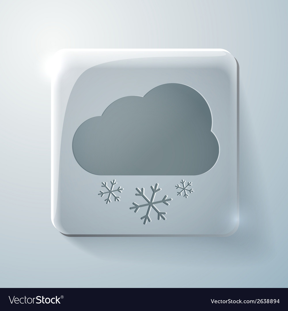 Cloud snow glass square icon with highlights vector | Price: 1 Credit (USD $1)