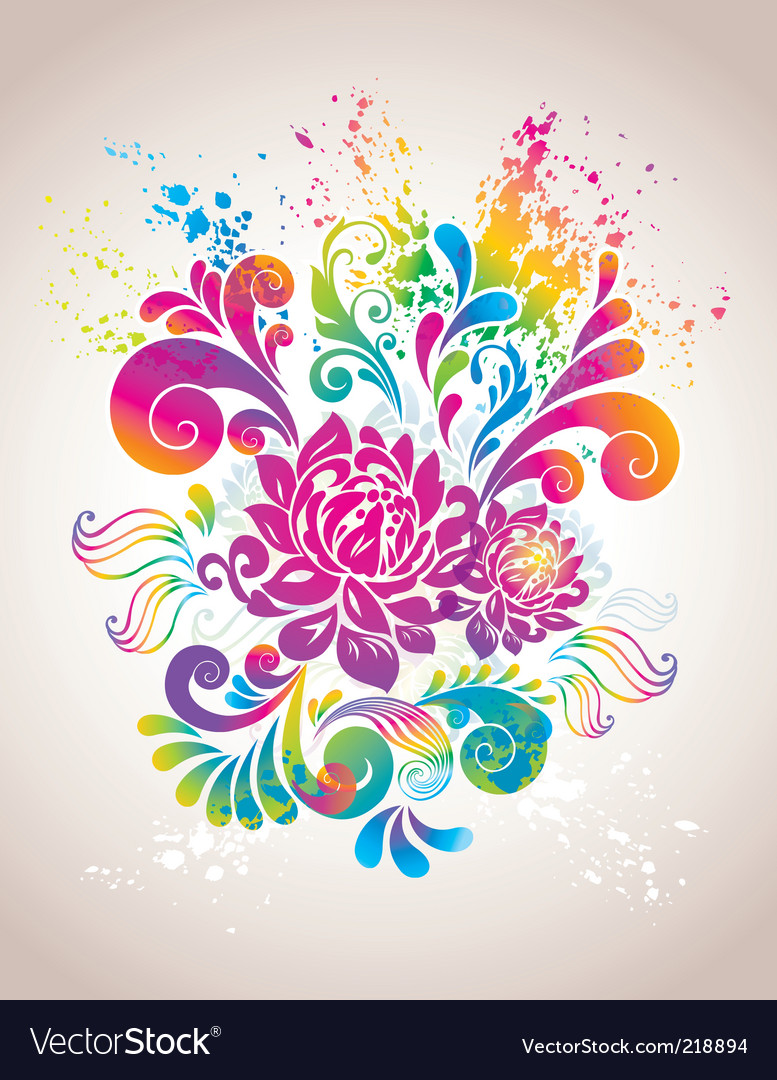 Colorful flower background vector | Price: 1 Credit (USD $1)