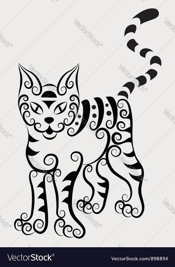 Curl cat vector | Price: 1 Credit (USD $1)