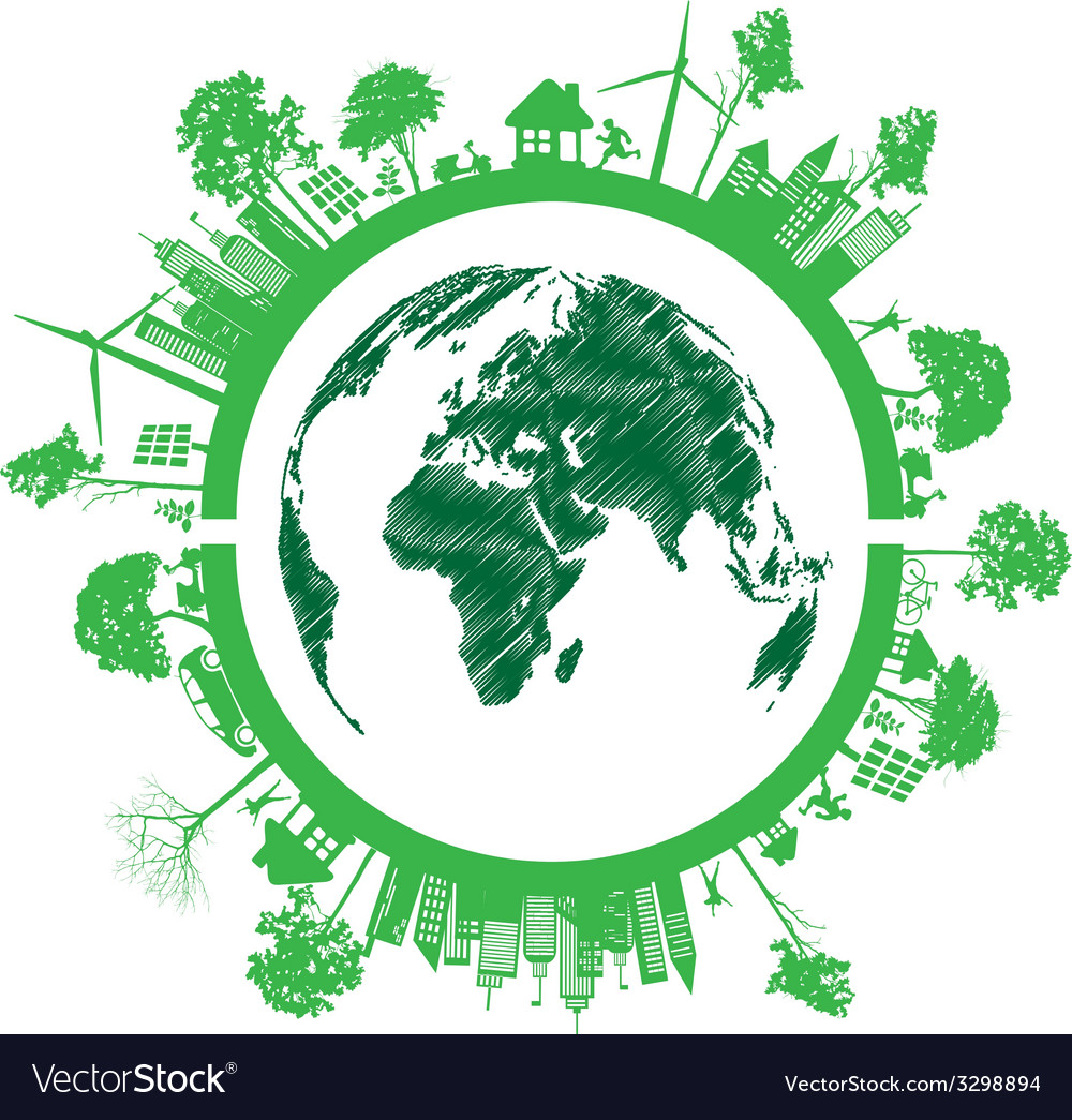 Green eco earth isolated on white background vector | Price: 1 Credit (USD $1)