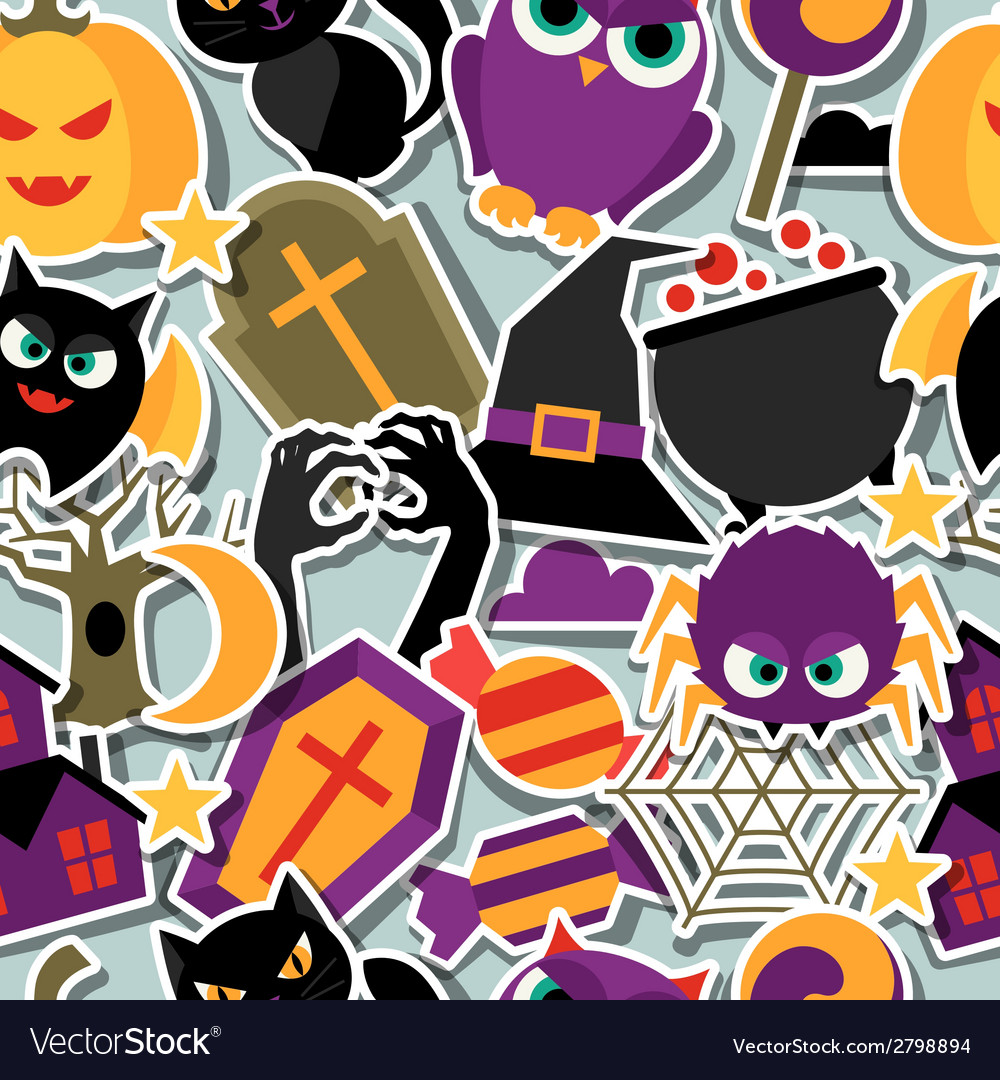 Happy halloween seamless pattern with flat sticker vector | Price: 1 Credit (USD $1)