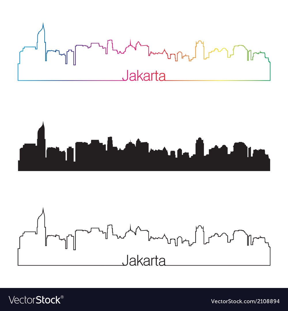Jakarta skyline linear style with rainbow vector | Price: 1 Credit (USD $1)