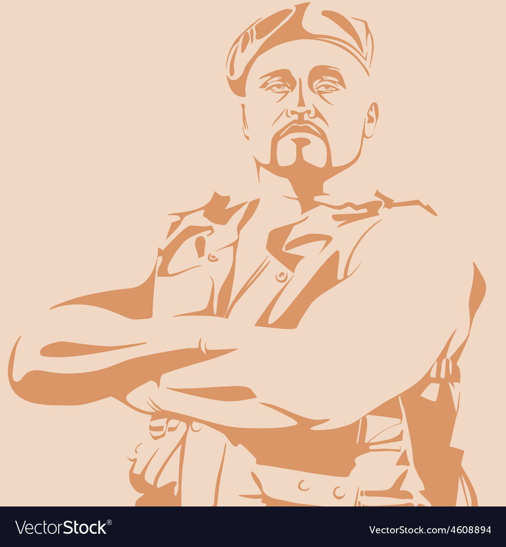 Male soldier in a beret and vest vector | Price: 1 Credit (USD $1)