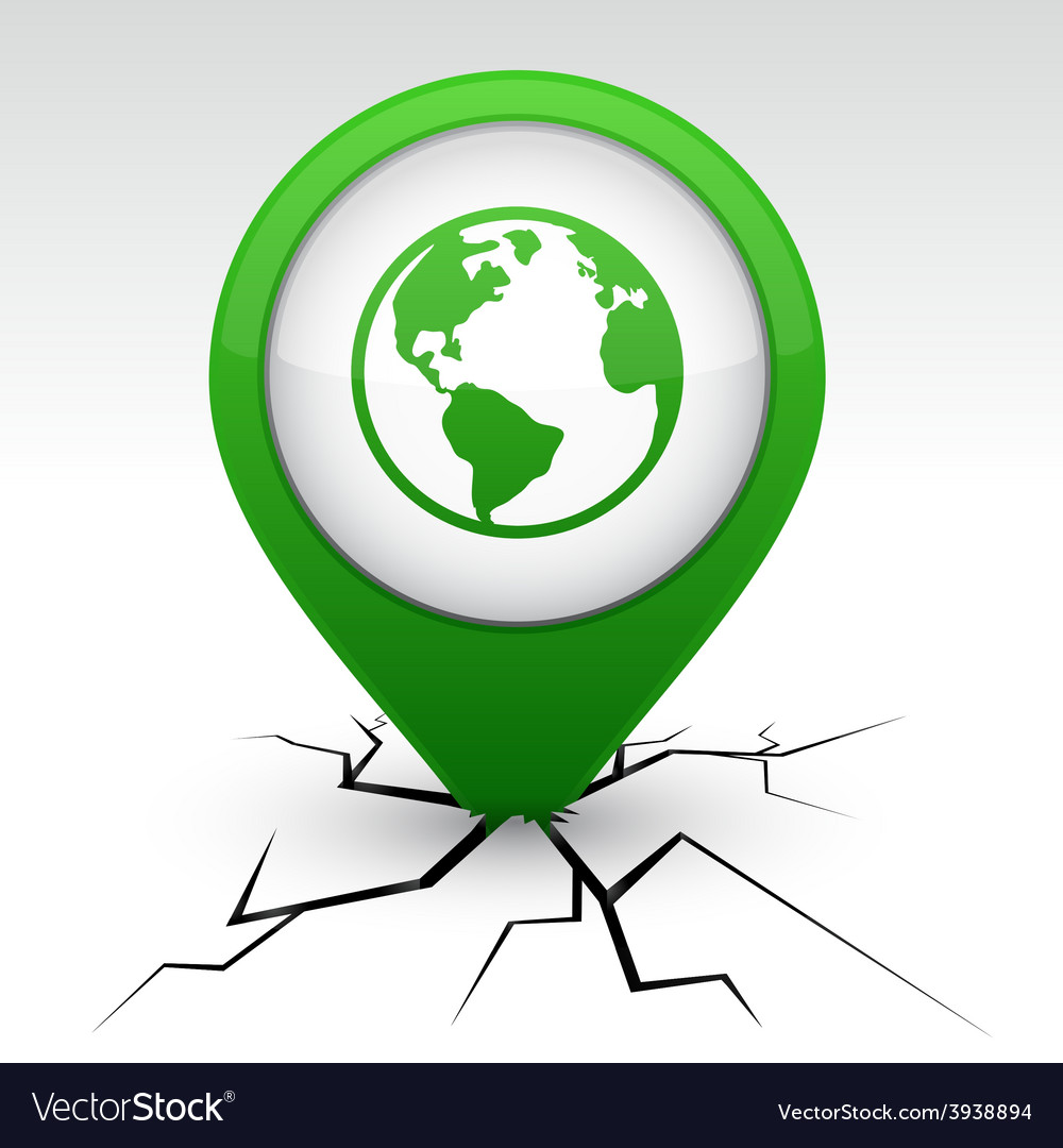 Planet green icon in crack vector | Price: 1 Credit (USD $1)