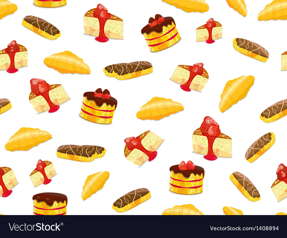 Seamless pattern with cake croissant and eclair vector | Price: 1 Credit (USD $1)
