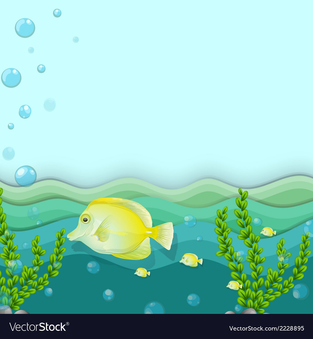 A group of yellow fishes under the sea vector | Price: 1 Credit (USD $1)