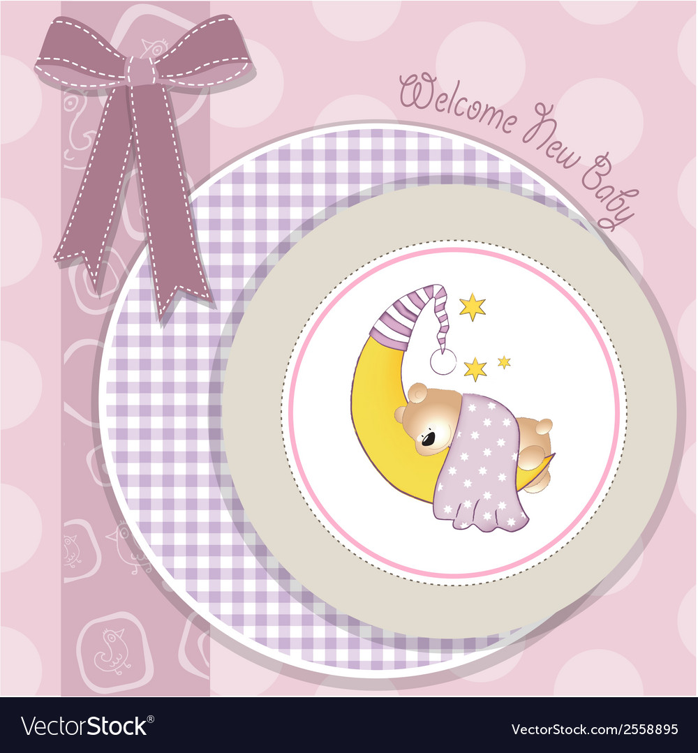 Delicate baby announcement card vector | Price: 1 Credit (USD $1)
