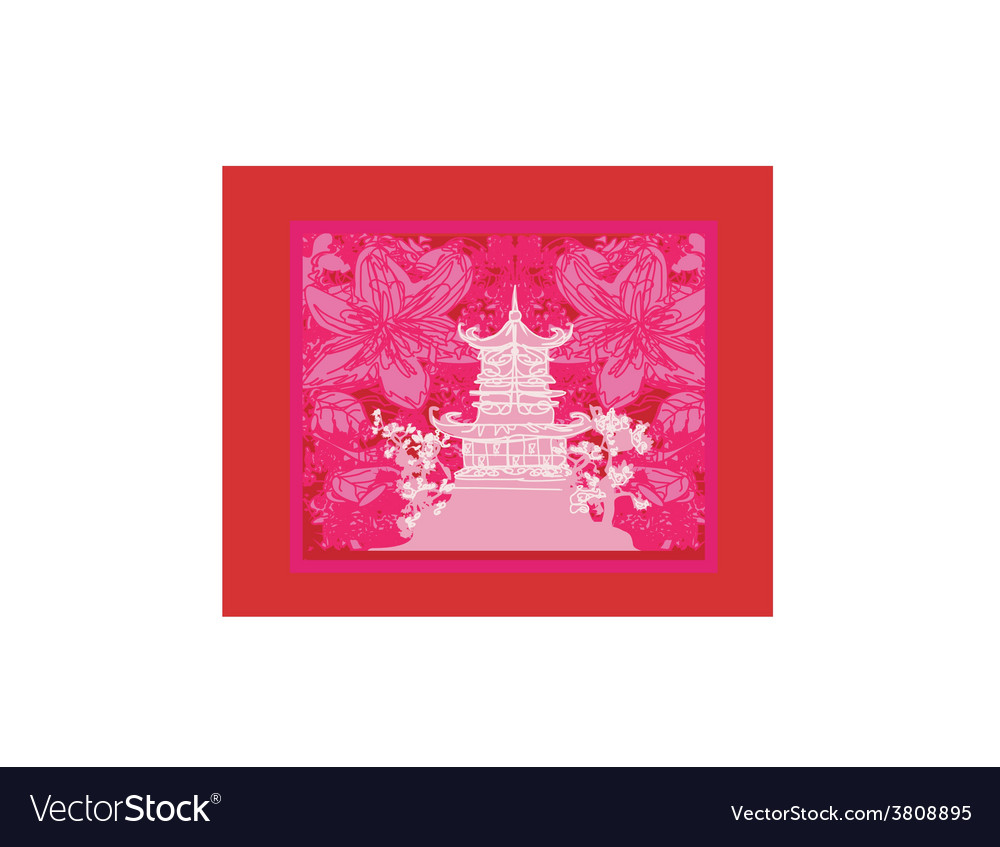 Japanese old building on abstract asian landscape vector | Price: 1 Credit (USD $1)