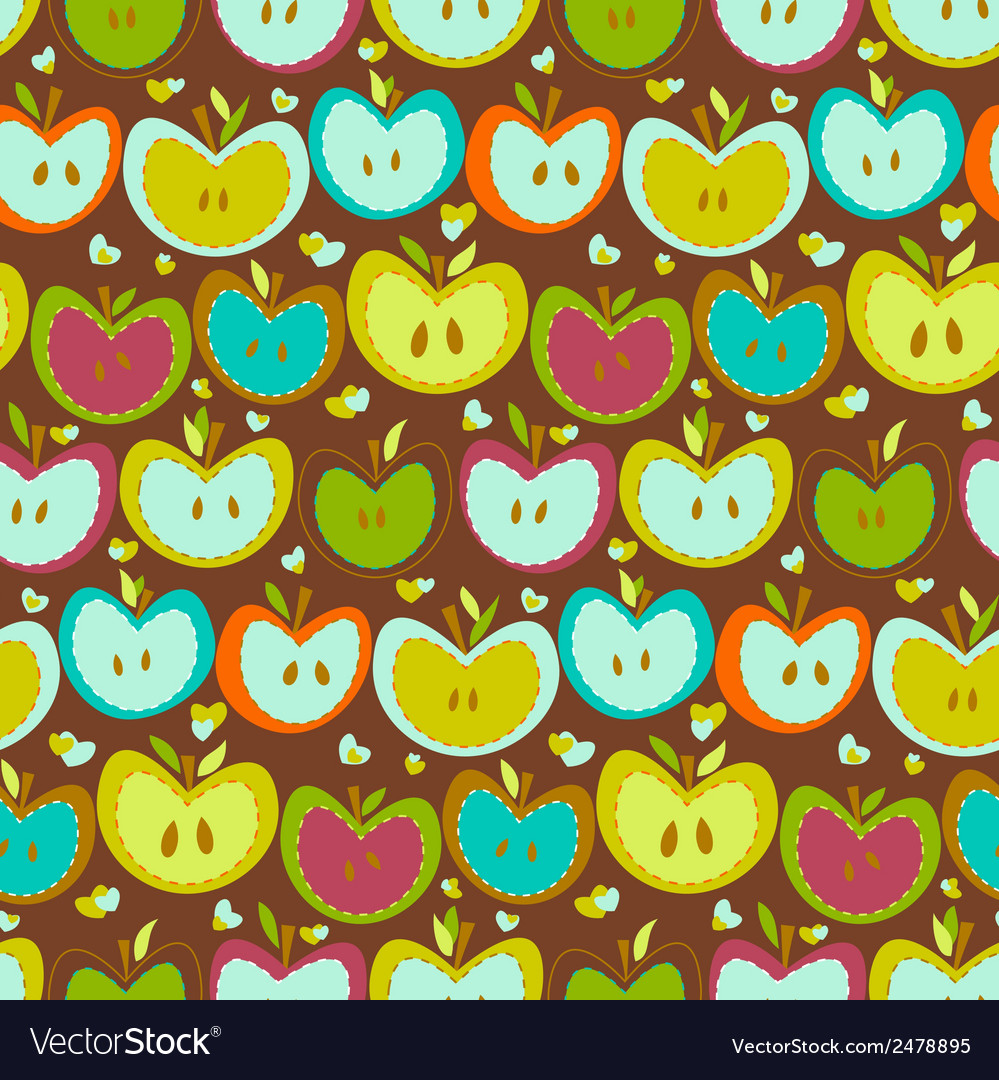 Seamless pattern with vintage apples vector | Price: 1 Credit (USD $1)