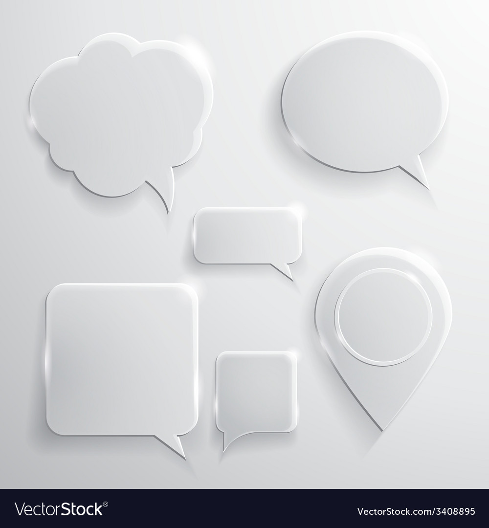 Set of glass speech bubbles clouds and icons vector | Price: 1 Credit (USD $1)