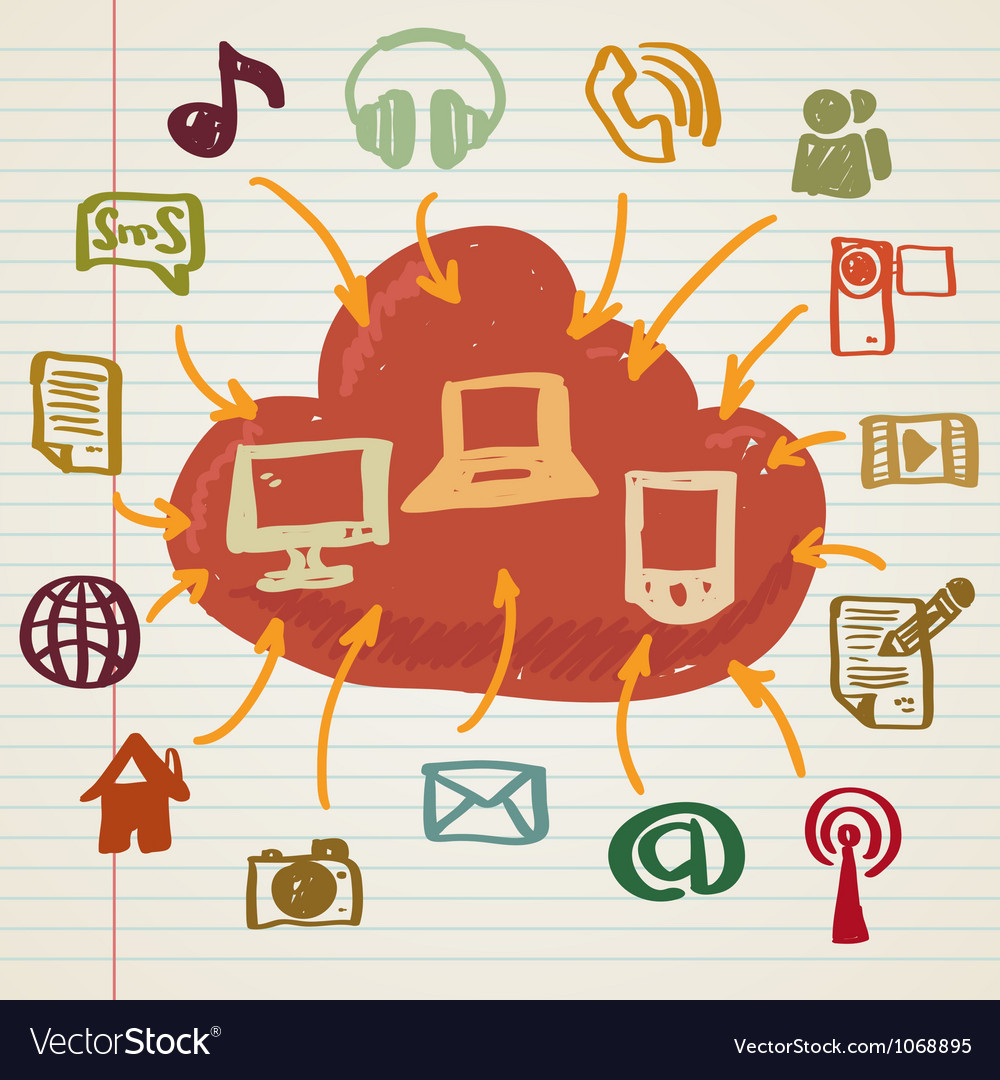 Social media in doodle style vector | Price: 1 Credit (USD $1)