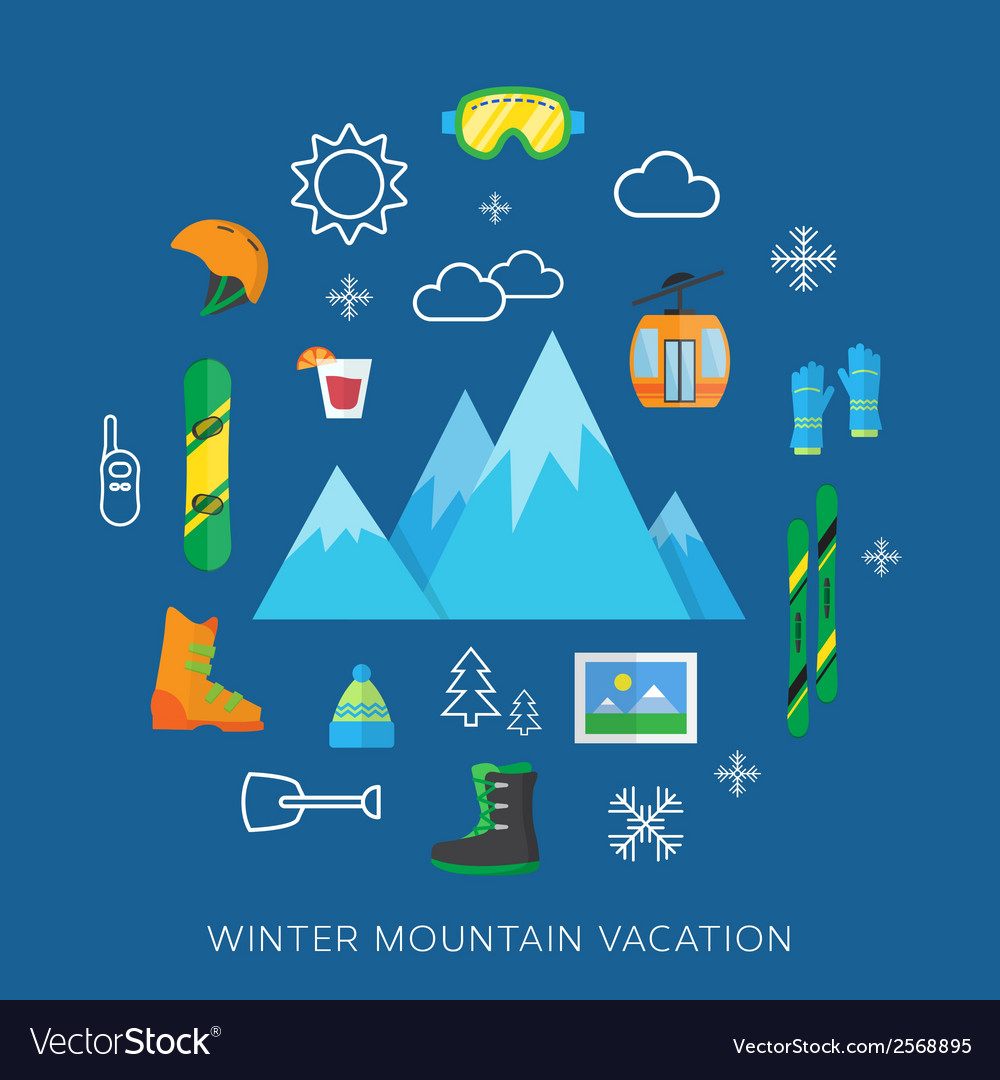 Winter vacation flat icon set vector | Price: 1 Credit (USD $1)