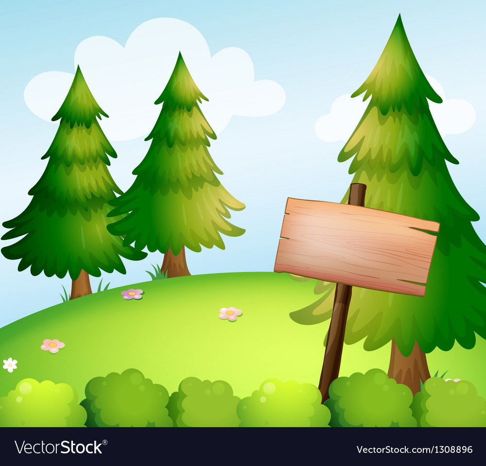 A blank wooden sign board in the forest vector | Price: 1 Credit (USD $1)