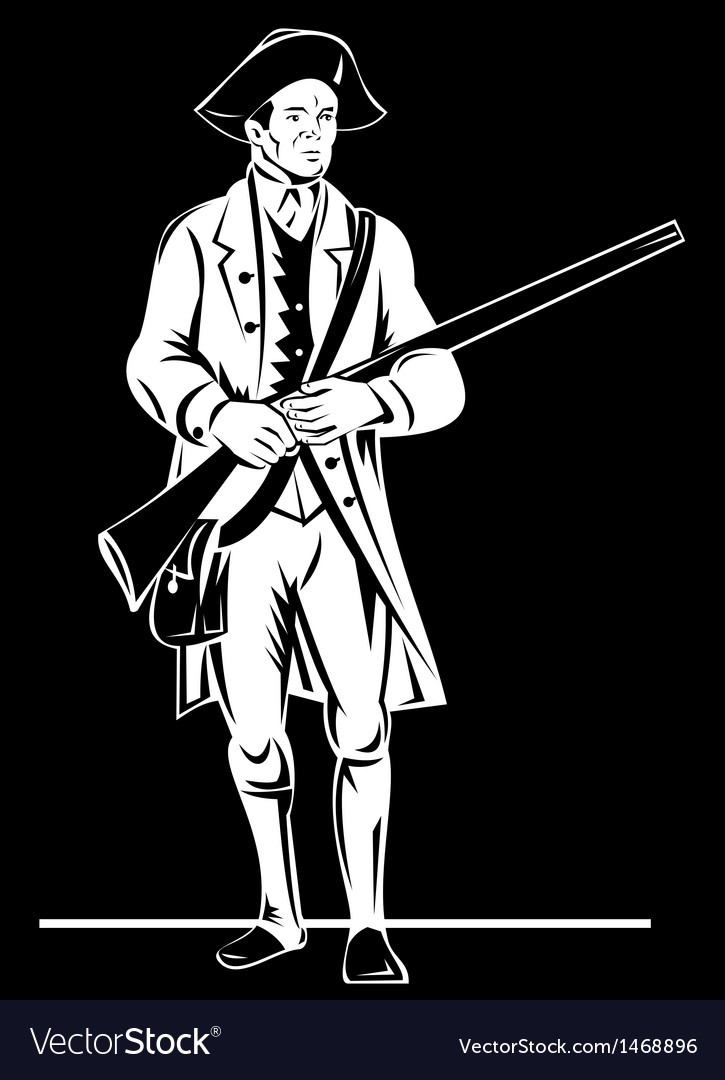 American revolution soldier patriot with rifle vector | Price: 1 Credit (USD $1)