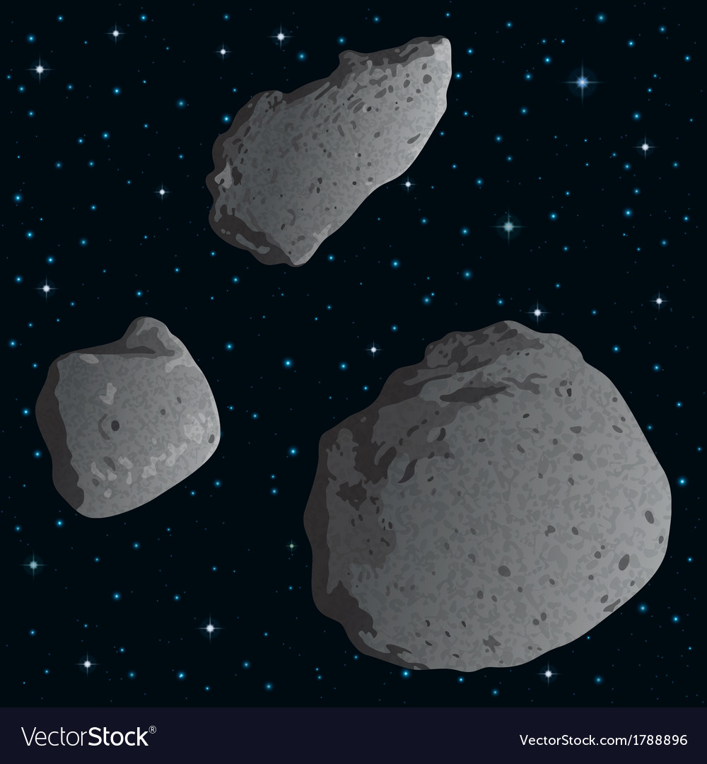 Asteroids in space vector | Price: 1 Credit (USD $1)