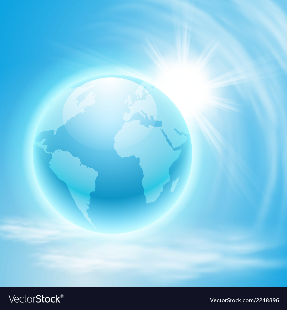 Background with globe and sun vector | Price: 1 Credit (USD $1)