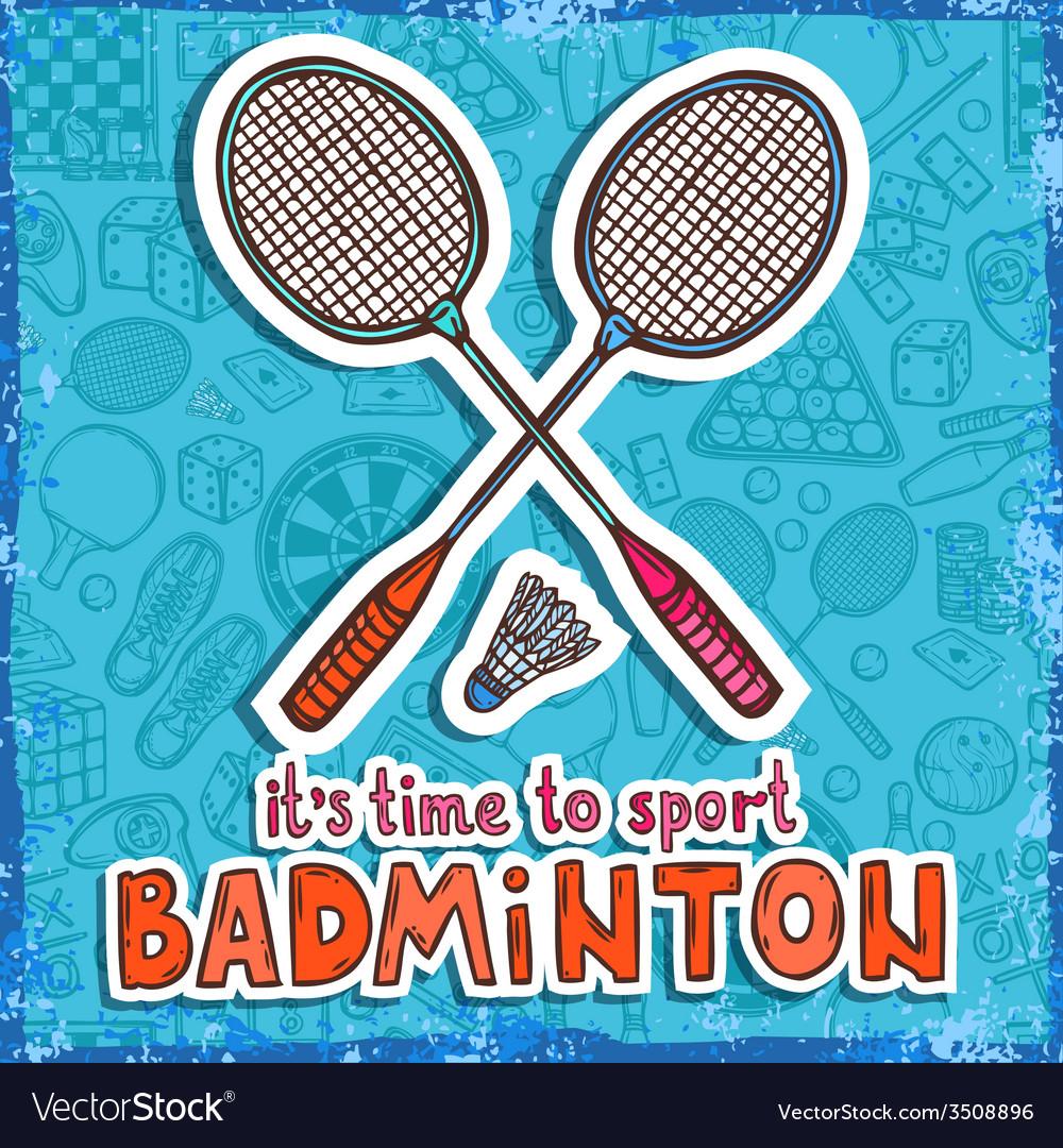 Badminton sketch background vector | Price: 1 Credit (USD $1)