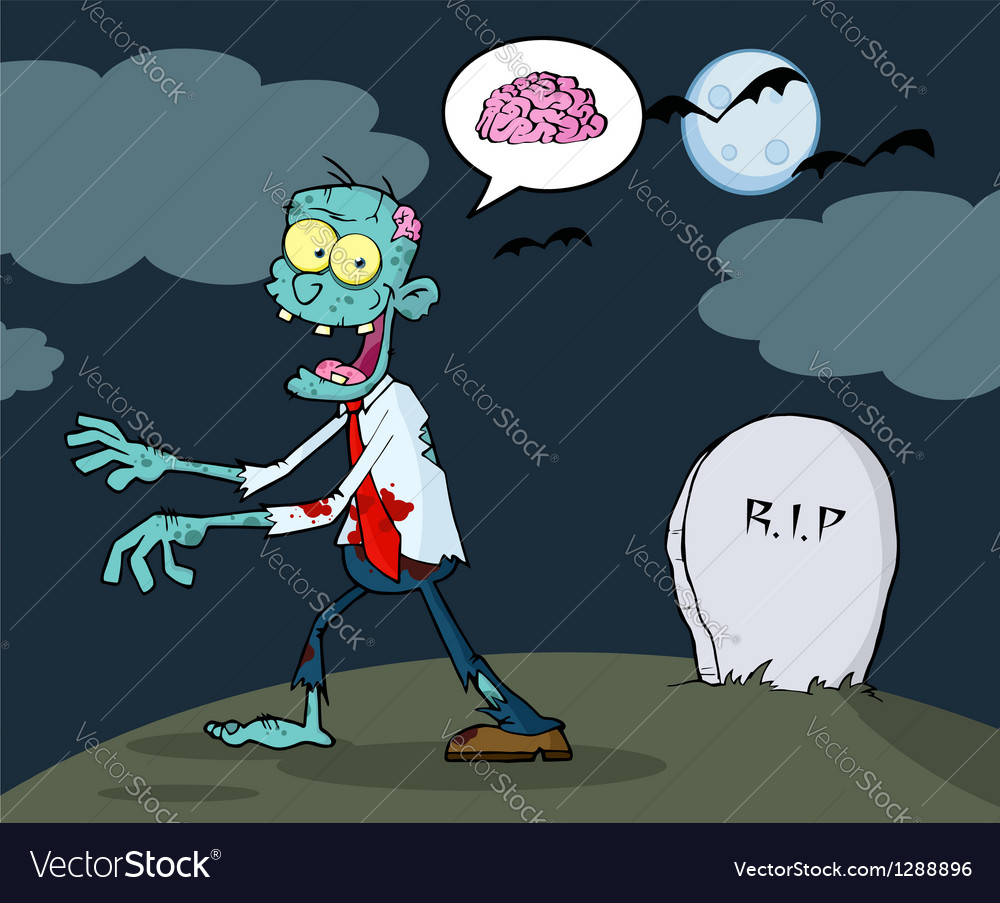 Blue cartoon zombie walking with hands in night vector | Price: 1 Credit (USD $1)