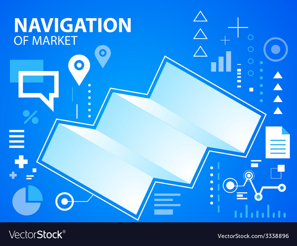 Bright navigate map on blue background for b vector | Price: 3 Credit (USD $3)