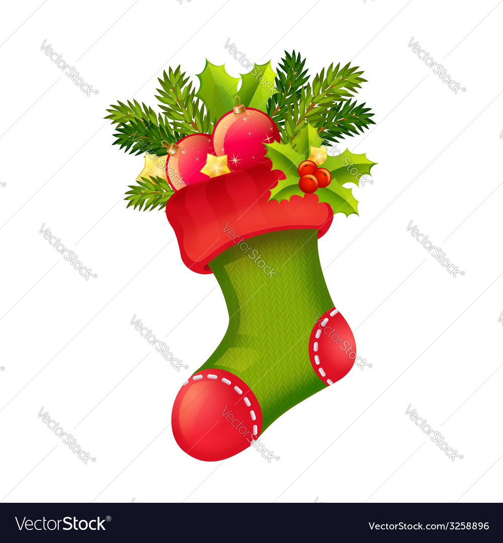 Christmas realistic stocking full of presents vector
