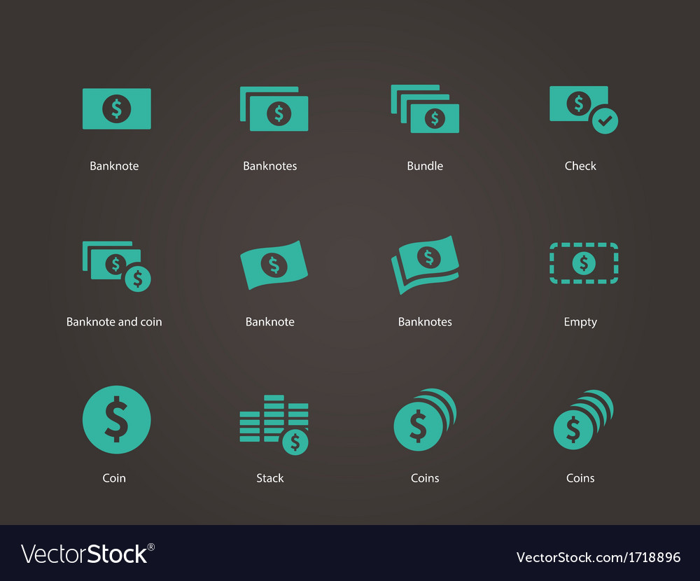 Dollar banknote icons vector | Price: 1 Credit (USD $1)