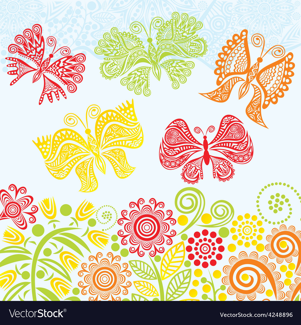 Floral pattern background with beautiful butterfly vector | Price: 1 Credit (USD $1)