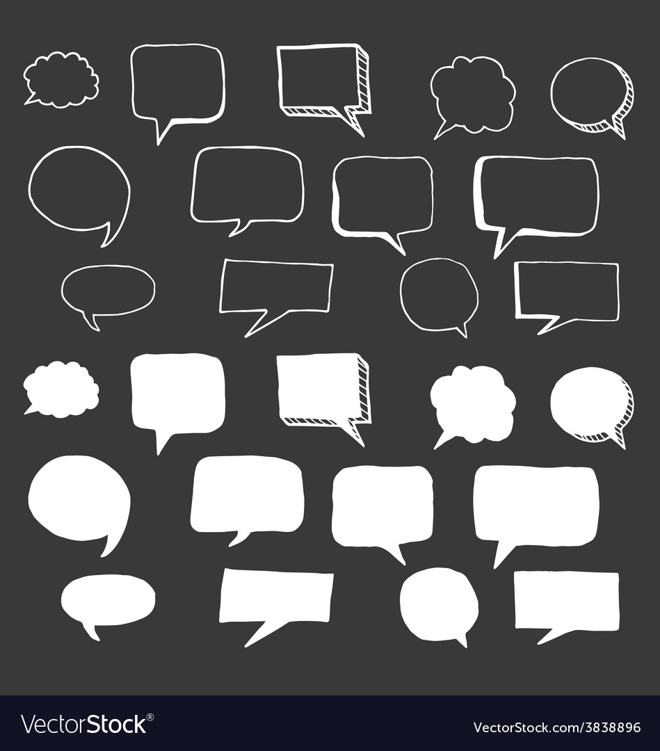 Hand drawn speech bubbles doodle vector | Price: 1 Credit (USD $1)