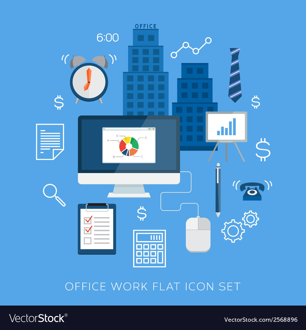 Office work flat icon set vector | Price: 1 Credit (USD $1)