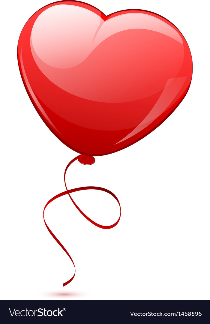 Red heart balloon vector   Price: 1 Credit (USD $1)