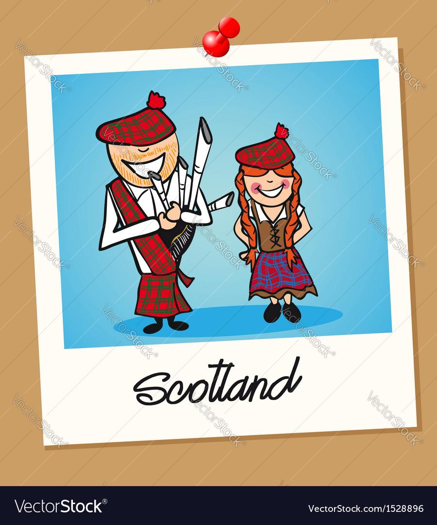 Scotland travel polaroid people vector | Price: 1 Credit (USD $1)