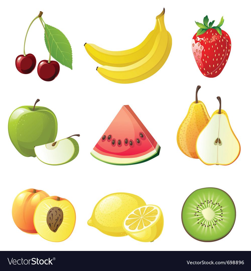Set of 9 juicy fruits icons vector | Price: 3 Credit (USD $3)