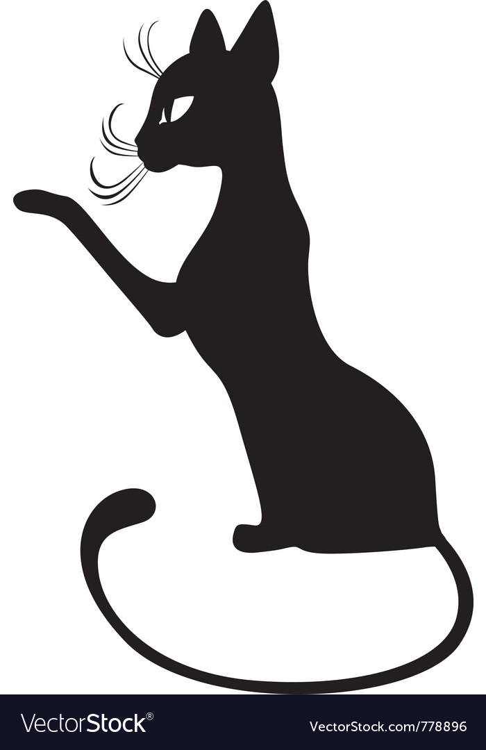 Silhouette of black cat in profile vector | Price: 1 Credit (USD $1)