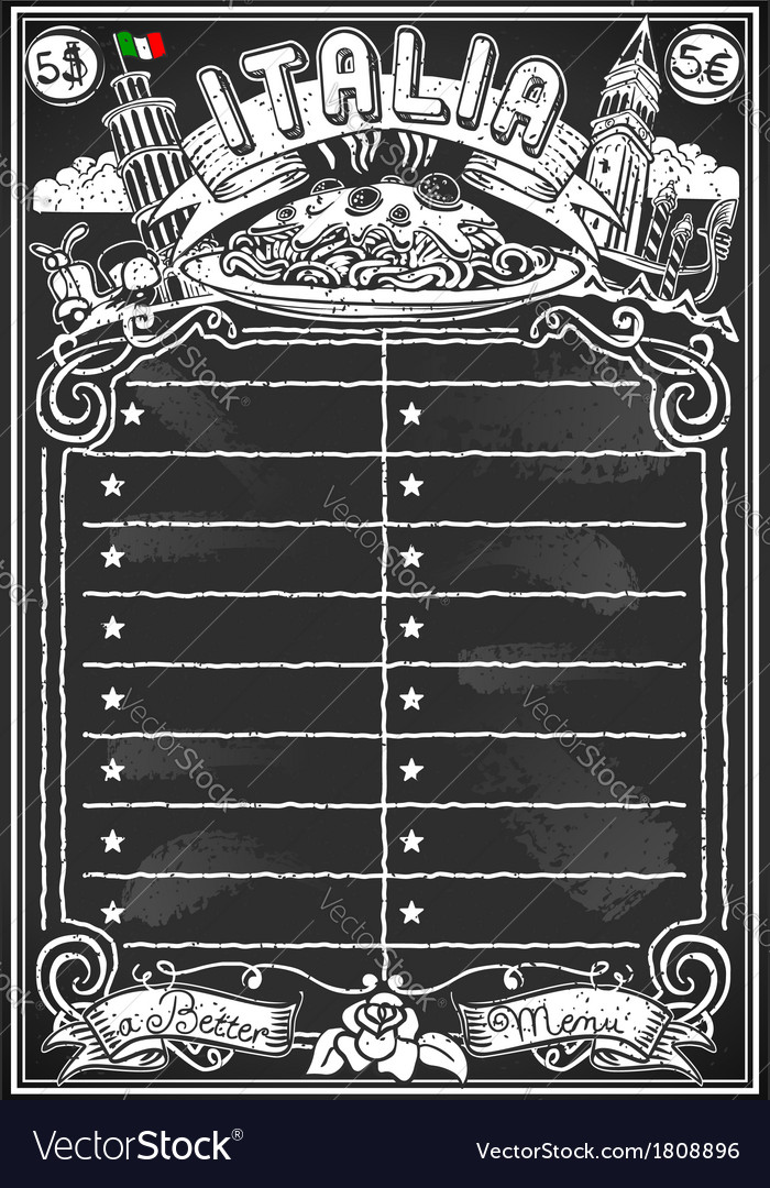 Vintage blackboard for italian menu vector | Price: 1 Credit (USD $1)