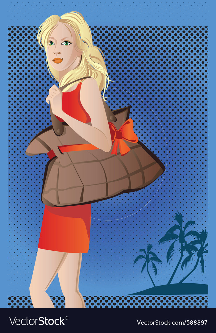 Beach girl vector | Price: 1 Credit (USD $1)