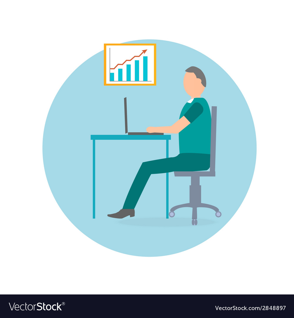 Businessman with laptop in office chair vector | Price: 1 Credit (USD $1)
