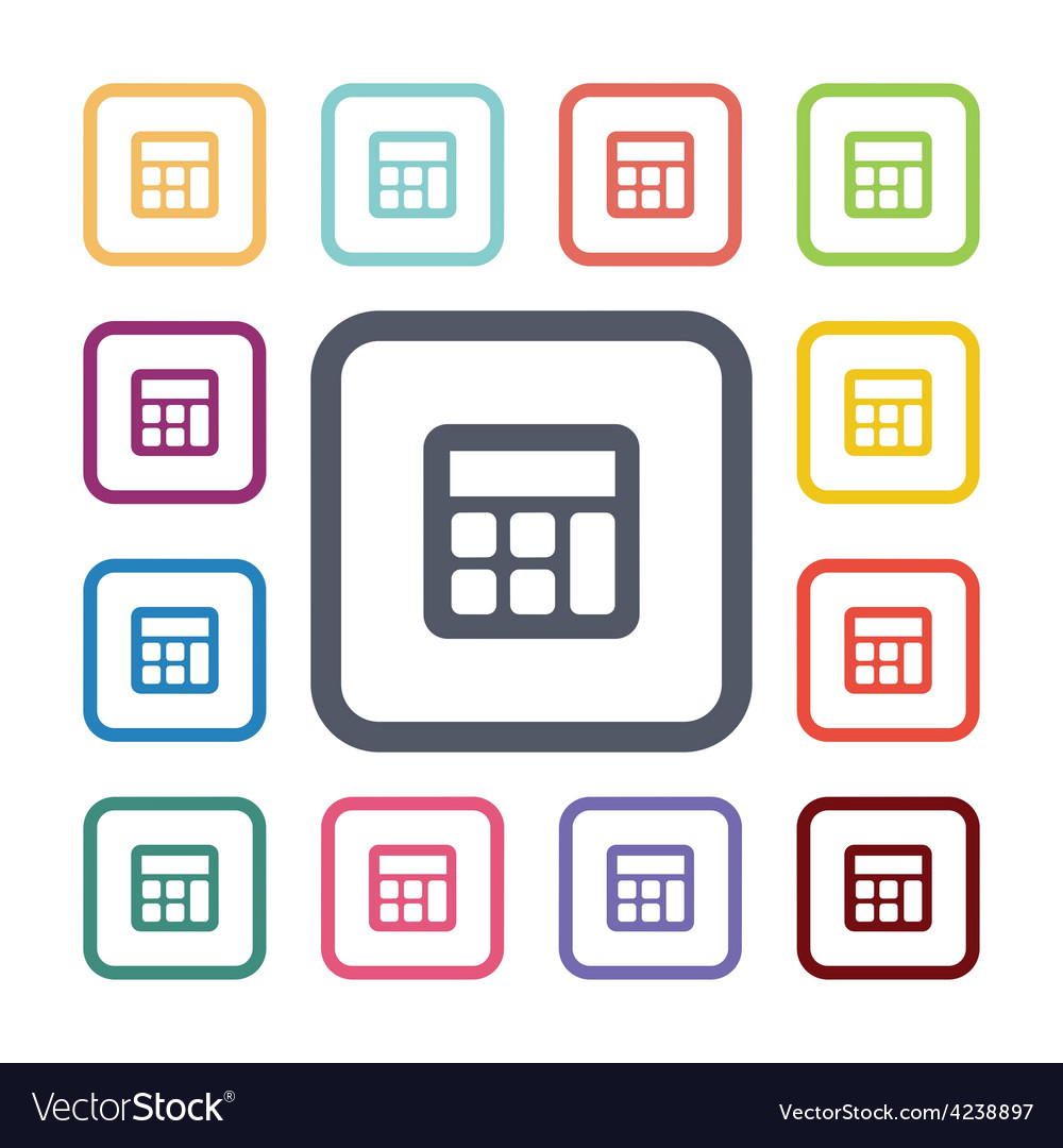 Calculator flat icons set vector | Price: 1 Credit (USD $1)