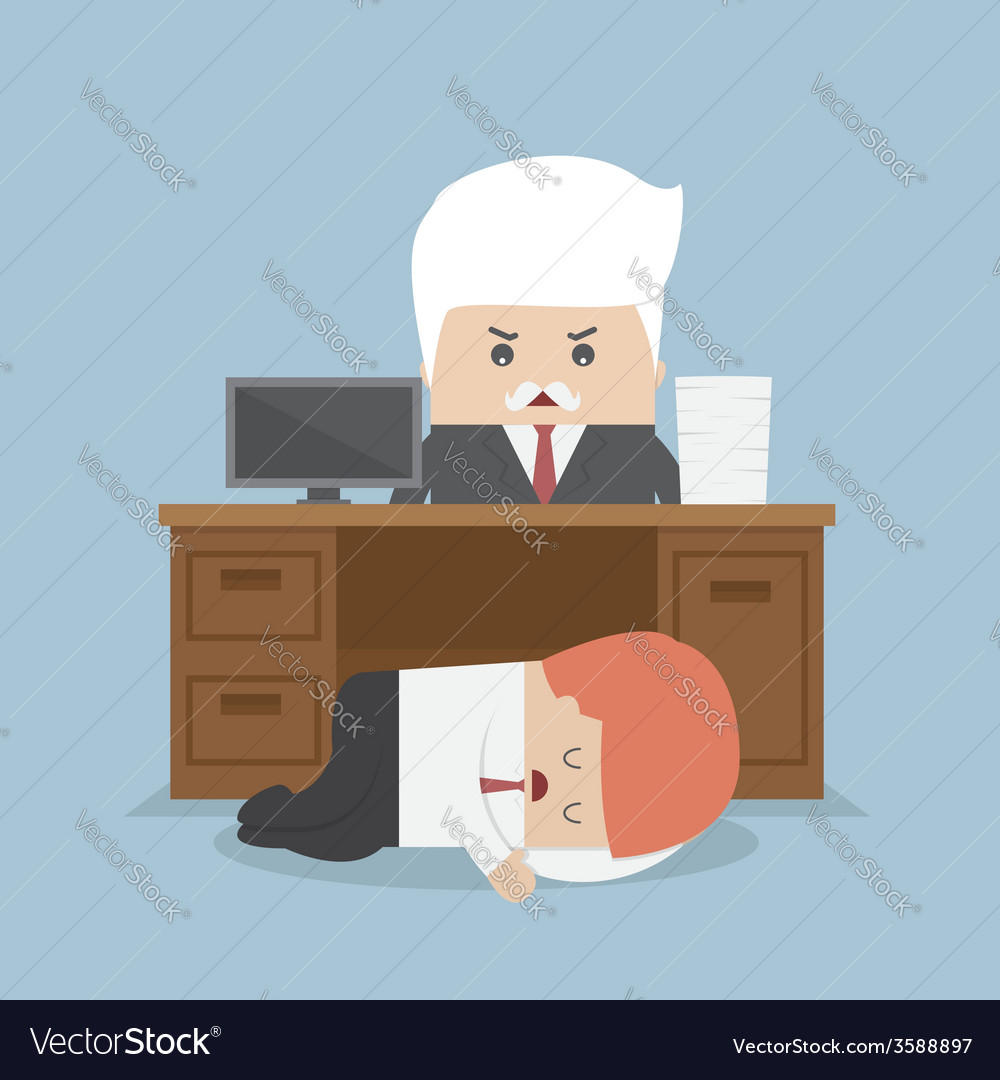 Employee sleeping under his desk and angry boss vector | Price: 1 Credit (USD $1)