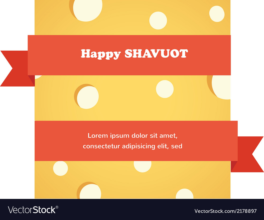 Happy shavuot card with red ribbon around cheese vector | Price: 1 Credit (USD $1)